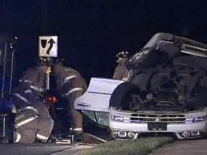 One car landed upside down after an accident on Tryon Road in Raleigh.