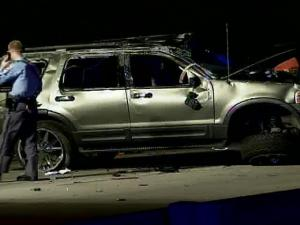 A vehicle wrecked Saturday night on Interstate 40 westbound near Rock Quarry Rd.