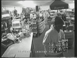 A $500 reward was offered Wednesday, Dec. 19, 2007, for information leading to the arrest of a man sought in robberies of the same Bailey ABC store on Dec. 7 and Dec. 18. (Nash ABC photo)