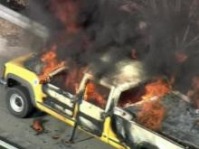 WEB ONLY: Sky5 Video of DOT Truck Burning