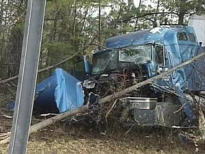Southbound lanes of I-85 near mile marker 214 in Vance County were shut down Tuesday morning due to this tractor trailer crash.