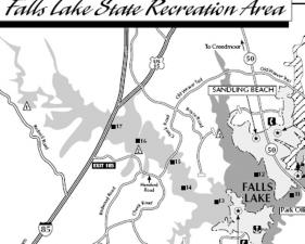 Map shows areas in the Falls Lake state recreation area, including Sandling Beach. State Parks and Recreation map.