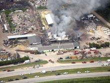 U.S. Highway 70 was closed to traffic in Lenoir County on June 11, 2008, while fire crews battled a fire at Foss Auto Recycling in La Grange. (Photo courtesy of SkySite Aerial Photography)