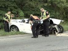 The driver of a convertible hit a bridge guardrail at about 6 p.m. Sunday on U.S. Highway 15-501 near Cornwallis Road.
