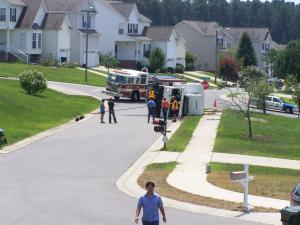 Garbage truck overturns in Raleigh (Photo by: Virginia Rodillas)