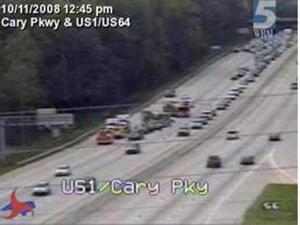 A multi-vehicle wreck forced the temporary closure of three of four northbound lanes of U.S. Highway 1, near Cary Parkway, in the early afternoon of Saturday, Oct. 11, 2008.