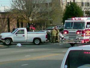 Emergency crews were on the scene of a wreck on Falls of Neuse Road near Spring Forest Road in Raleigh on Nov. 22, 2008. (Image from Charles Murray)