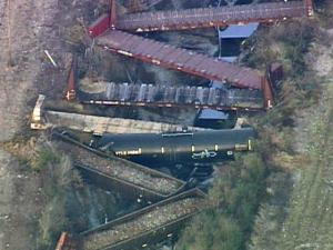 More than a dozen cars of a CSX freight train derailed west of Seaboard in Northampton County around 3:30 p.m. during a daily route between Rocky Mount and Branchdale, Va., Monday, Feb. 9, 2009.