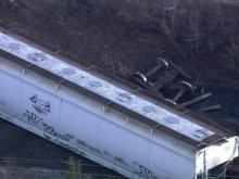 Sky 5 flies over Northampton train derailment
