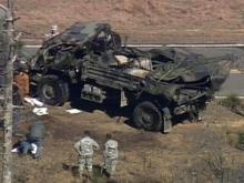 Sky 5 video of overturned Army truck