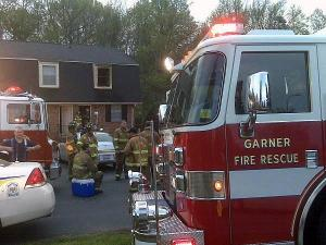 """Garner firefighters were battling a """"fully involved"""" blaze at Greenbrier Apartments, 1948 Spring Drive, around 6 a.m. Friday, according to Garner police."""