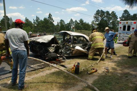Firefighters and paramedics were called to the scene of a wreck Tuesday near Vass.