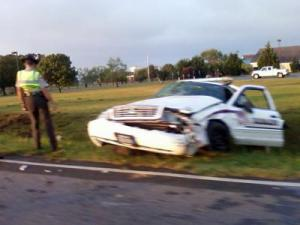A photo from a viewer of wrecked sheriff's vehicle on on New Hope and Mark Edwards roads in Goldsboro.