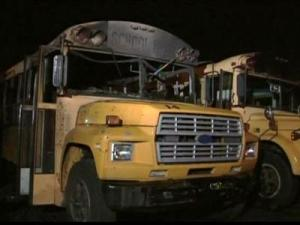 Someone broke into a church bus, at 515 Southerland St., on Wednesday night and Thursday night and stole a TV, DVD player and stereo. The vandals also set fire to two other buses.