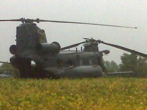 Chinook helicopter in Rolesville field (Photo submitted by Tyler Williams)