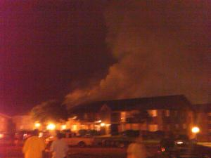 Firefighters battled an apartment fire late Tuesday at Royal Oaks Apartments on Weymouth and Mayfair streets in Durham. (Photo from viewer)