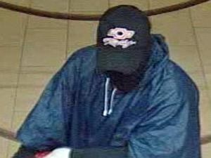 A surveillance image of the suspect in the robbery of Wachovia bank, at 3400 Spring Forest Road in Raleigh, on Oct. 14, 2009.