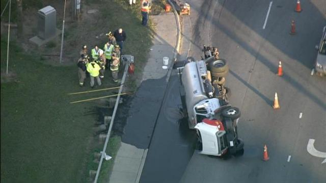 A truck overturned and spilled tar on N.C. Highway 55 south near U.S. 1 Friday morning.