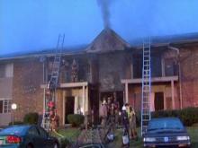 Raw: Durham firefighters battle apartment blaze