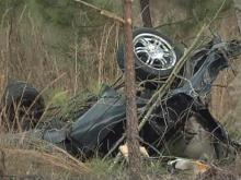A car was torn in half during a three-vehicle wreck in the 4500 block of N.C. Highway 210 North, south of Bunnlevel, early Nov. 30, 2009, that sent one person to the hospital.