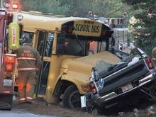 A Wake County school bus was involved in a wreck with a pick-up truck and station wagon on Ligon Road, near Louisburg Road, early Friday, Dec. 4, 2009.