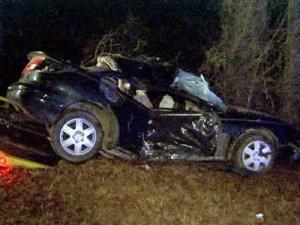 An attempt to repossess a car ended with a crash in Johnston County early Tuesday.