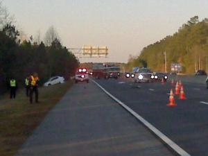 Durham police investigate a fatal hit-and-run crash that happened on Interstate 40 East near Exit 276 on Feb. 10, 2010.