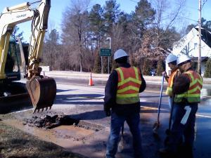 A water main broke on South Main Street in Wake Forest Thursday, near N.C. Highway 98 bypass.
