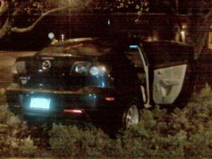 Raleigh police said that this Mazda sedan rear-ended another car stopped at red light at Six Forks and Saw Mill roads, killing one person early Saturday, March 13, 2010.