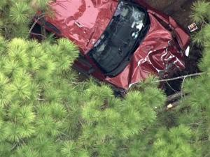 WRAL's helicopter Sky 5 flies over a fatal wreck Tuesday afternoon off Interstate 540 near Knightdale.