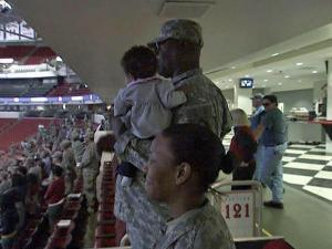 Nearly 4,000 members of the North Carolina National Guard and their families celebrated their return from Iraq in a public ceremony at the RBC Center in Raleigh on Sunday, April 11, 2010.