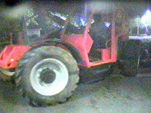 A surveillance image taken early Friday morning when thieves stole a forklift and used it to take an ATM from the RTP Federal Credit Union, 21 Park Drive in Research Triangle Park.