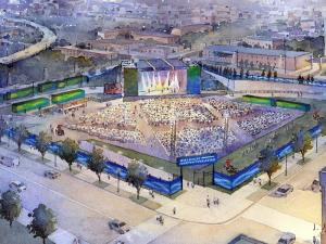 An artist's rendering of the downtown Raleigh amphitheater, which is scheduled to open in June 2010.