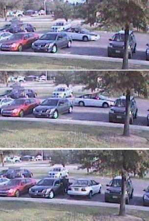 A series of surveillance images show the suspect car arriving and parking.