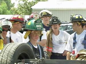 Fire and rescue personnel participate in a hands-on training class Saturday, June 19, 2010, at 990 Vandora Springs Road in Garner.