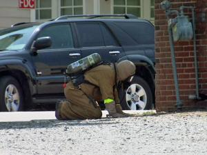 Authorities closed some roads in downtown Raleigh Sunday as they worked to cap a natural gas leak on West Edenton Street Sunday, June 27, 2010.