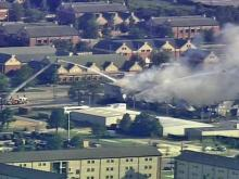 Raw: Sky 5 over Fort Bragg fire