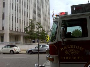 More than 1,100 people got out of the state government complex's Albemarle Building in downtown Raleigh Tuesday, July 13, 2010, after smelling smoke, according to Raleigh Fire Marshal Rusty Styons.