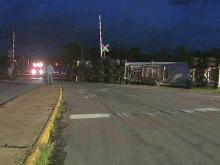 Propane truck overturns in Selma