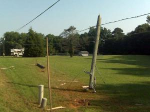 A pickup truck snapped a utility pole in half after veering off N.C. 39 in Zebulon on Sept. 1, 2010.