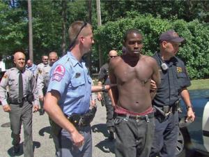Raleigh police officers took a man into custody after a foot chase around Lake Wheeler Road and Interstate 440 on Saturday, Sept. 4, 2010.
