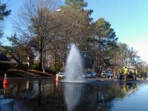 A broken water main closed one lane of Kildaire Farm Road in Cary on Dec. 14, 2010. (Photo courtesy of Rick Nelson)