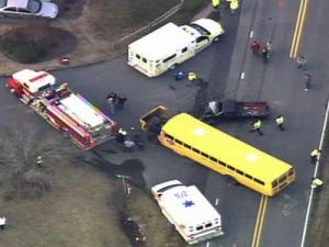 A wreck involving a school bus happened in front of High Falls Elementary School near Robbins on Jan. 6, 2010.