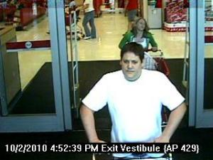 Apex police say the man in this surveillance image is suspected of stealing thousands of dollars worth of electronics from Target.