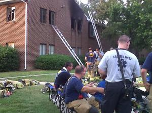 Six people were displaced by an apartment fire in north Raleigh Monday evening, Wake County fire officials said.