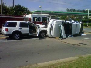 A Ford Explorer collided with a Chevrolet Tahoe driven by a Durham police sergeant on Hillsborough Road near U.S. Highway 15/501 on June 14, 2011, police said.
