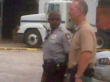 Kinston police were on the scene of a shooting death at Sutton Brick Company on June 17, 2011. (Image courtesy of WNCT)