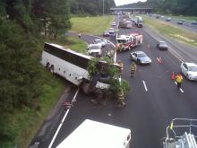 A bus wreck in Raleigh has closed two lanes of westbound Interstate 40 and the entrance ramp to the interstate from Chapel Hill Road on Monday, authorities said.