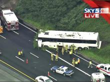 Sky 5 flew over a bus wreck on Interstate 40 in Raleigh.