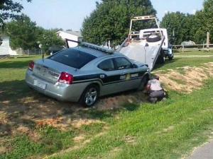 A wreck involving a state trooper happned on North Carolina Highway 97 in Rocky Mount on June 3, 2011. (Submitted by Charnell Billups)
